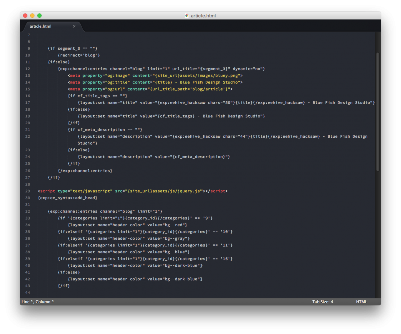 expressionengine code in sublime editor
