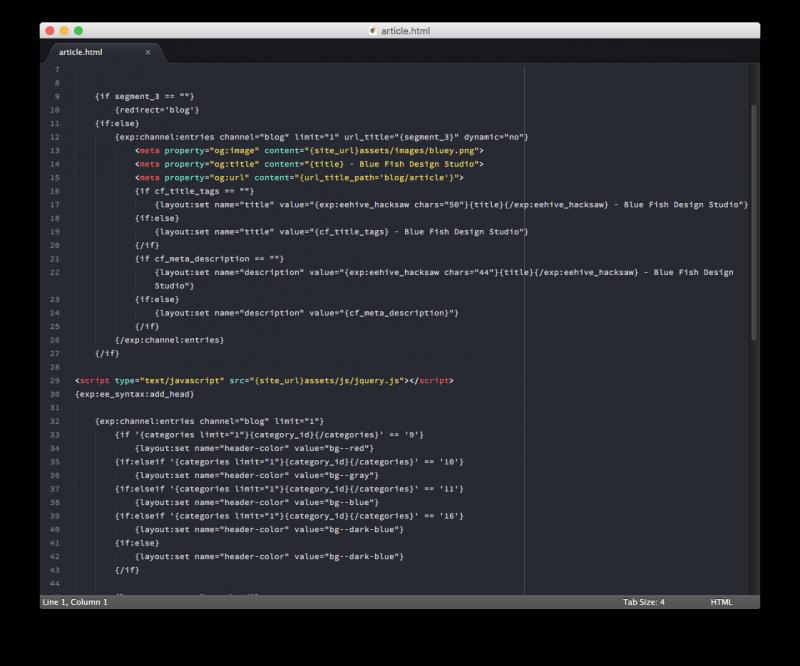 expressionengine code in sublime editor