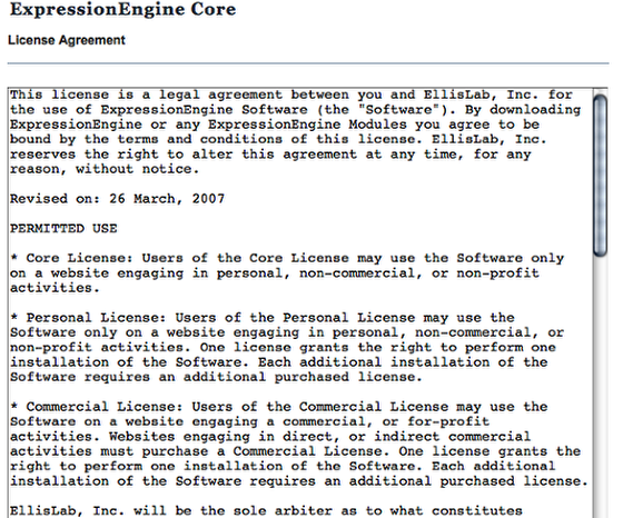 ExpressionEngine License