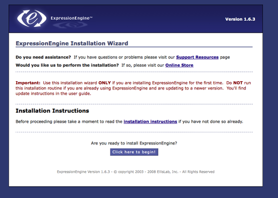 ExpressionEngine Installation Wizard