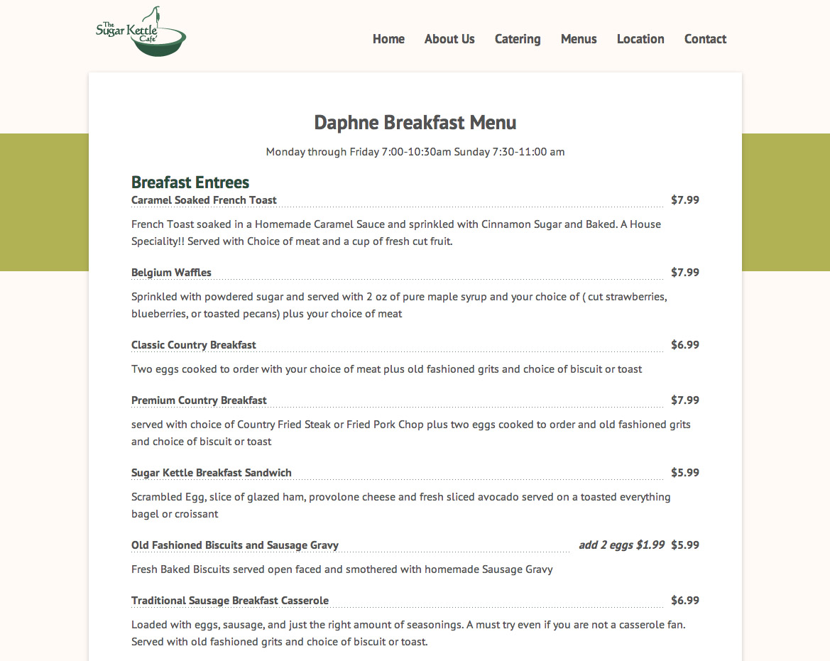 Sugar Kettle Cafe's new menu